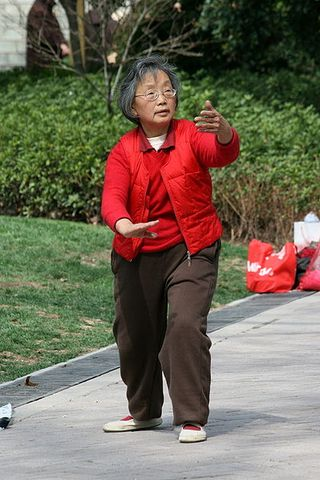 399px-Elderly_Shanghai_woman_practices_tai_chi